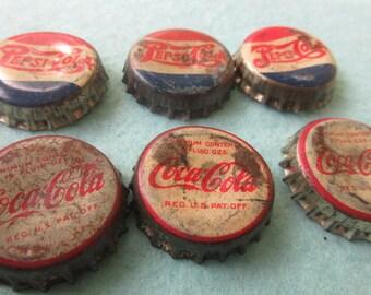 Vintage Bottle Caps, Vintage Coke Bottle Caps, Vintage Pepsi Bottlecaps, cork lined caps