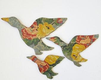 Three Retro Flying Ducks