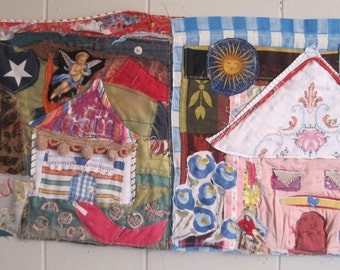 cottage chic - Fabric Collage Folk Art - Recycled Vintage Materials - Textile Assemblage Wall Quilt- House Home - my bonny random scraps