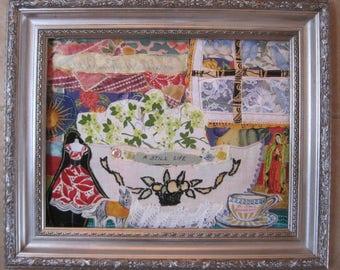 a still life -- Vintage Fabric Collage Folk Art -- Original Primitive Naive  -- myBonny random scraps 11 X 14
