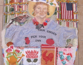 farmers market / community garden  Folk Art  - Textile Assemblage & Found Objects - Primitive  Fabric Scraps Collage Wall Quilt - my Bonny