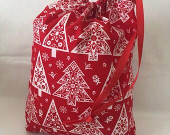 "Christmas Fabric Gift Bag  Eco Friendly Drawstring Bag----Reuseable size 10"" wide x 11"" tall  Red Christmas Trees"