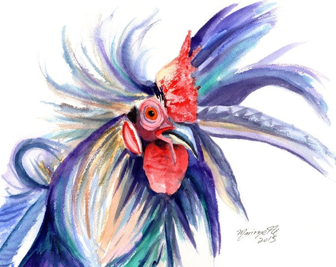 rooster giclee print, kauai rooster art, kauai chickens, kauai birds, kitchen art, gifts for him, kauai giclee, hawaii art, crazy rooster