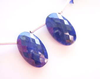 Blue Sapphire Faceted Ovals - Pair - 11.5x19mm