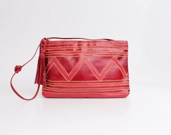 Vintage 1980s Grained Leather Handbag | Red Zigzag Leather Clutch Bag | Large Patchwork Leather Purse