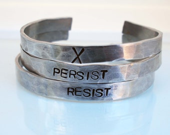 Protest Cuff, Political Statement, Feminist Bracelet, Not My President, Pride Day Jewelry, Unisex Cuff