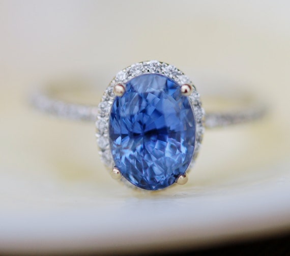Sapphire engagement ring. Blue sapphire engagement ring. 2.77ct Oval Cornflower blue sapphire diamond ring 14k white gold engagement ring