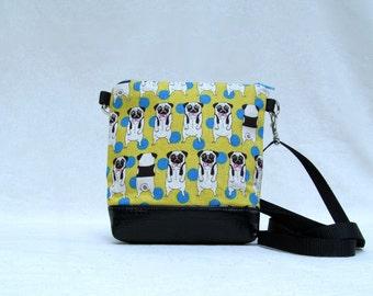 MINI PURSE // Cute Pug Purse //  Essentials Bag // Hip Bag //  Japanese Import Fabric