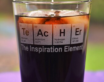 Engraved TeAcHEr Periodic Table Glass, Personalized Teacher's Birthday Gift, Math/Science Teacher Gift, Engineer Gift