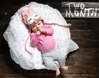 Newborn Girl Owl Hat, Sleepy Baby Owl Hat, Baby Girl Hat, Pink Baby Hat, Infant Animal Hat, Baby Halloween Costume, Newborn Prop