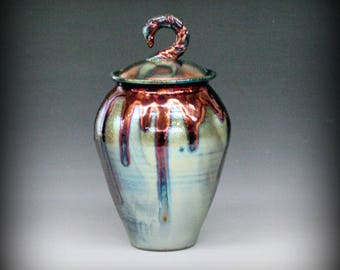 Raku Urn with Metallic Copper Drips