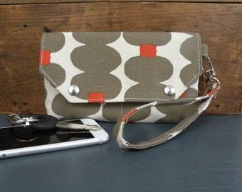 Wristlet Wallet in Cocoa and Orange mod print, Skinny laMinx print, Purse organizer, Vegan Wristlet, Urban clutch,  iPhone Holder, Phone bag