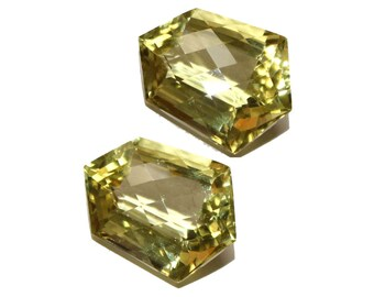2 Pcs 1 Match Pair AAA Natural Lemon Quartz Faceted &  Fancy Cut Gemstones18x18.5mm  Loose Gemstones GP15
