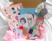 Goodie Box / stickers,nailpolish,brooches,bow,candy,book,zine!
