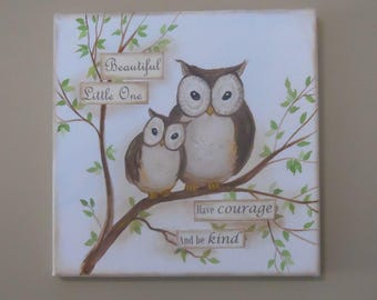 Beautiful Little One Owl Canvas Collage