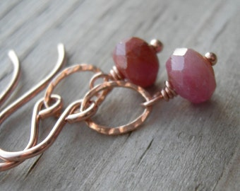 Pink Sapphire Beads Rose Gold Dangle Earrings