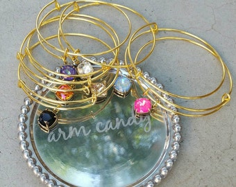 Swarovski Crystal Charm Bracelet, Adjustable Bangle