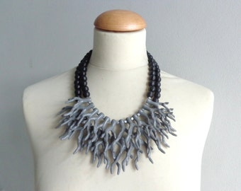 Grey coral branch necklace, black gray coral branch statement