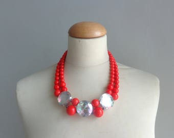 Coral Red rhinestones statement necklace, multi strand necklace, chunky necklace