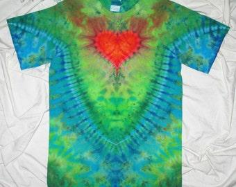 tye dye,  small heart with crest ice dye, arrow back ice dye, tie dye t shirt by GratefulDan, heady dyes