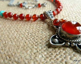 Inger* Old World Renaissance Style Necklace Carnelian & Silver Natural Gemstone Jewelry Kingman Turquoise Accents Ethnic Coventry Cross