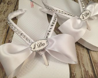 I Do Bridal Flip Flops, I Do Custom Flip Flops, Dancing Shoes, I Do Bridal Shoes, White Bridal Sandals White Beach Wedding Shoes Bride Shoes