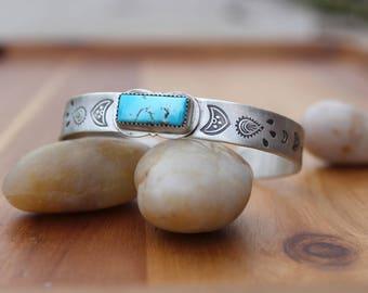 OOAK Turquoise Cuff Sterling Silver Bracelet Silver Cuff Bracelet Blue Gem Turquoise Handstamped Cuff Mendhi Stamped Bracelet Silver Jewelry