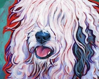 Old English SHEEPDOG Dog Original Art Painting on 8x8 canvas by Lynn Culp