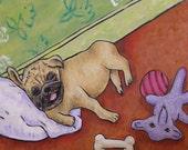 30% off Pug, dog art tile, pug tile, bedroom tile, fawn pug, dog coaster, pug art