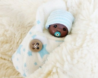Hand Sculpted Bundle Baby Boy AA Ooak Doll Newborn Lovinclaydolls Lisa Haldeman Shower Gift Dollhouse Gender Reveal  Sculpt Clay