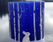 Bunny sniffing the Wind in a Woodland Birch Forest made with Polymer Clay and Recycled Glass in Cobalt Blue