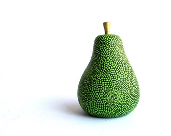 Pear: Hand Painted Green ceramic Pear figurine Fruit art