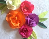22 Custom Hand Dyed Paper Flower Roses in Five Tropical Colors for Moana Party