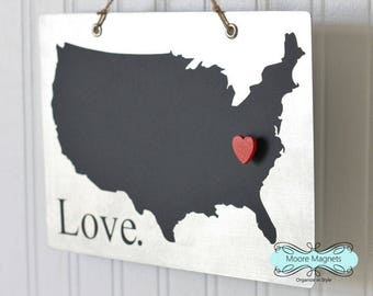 USA Silhouette Love Sign Magnet board with Chalkboard State and Red Heart Magnet