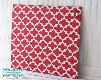 Magnetic Board 18 inch x 24 inch Red and White Moroccan Pattern Fabric - Note board Message board  Command Center Office Organization