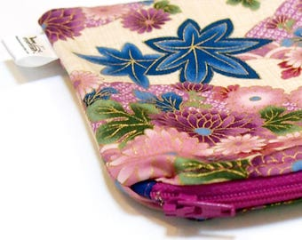 """Wee Wet Bag Mini Wet Bag for your purse or diaper bag - 5 X 7 inches - """"Purple Floral"""" - Woven Cotton Print"""