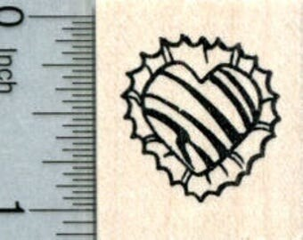 Valentines Day Chocolate Rubber Stamp, Heart Truffle D31706 Wood Mounted