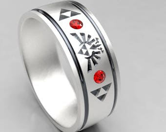 zelda wedding ring mens zelda silver wedding band with ruby size 9 ring - Ruby Wedding Ring