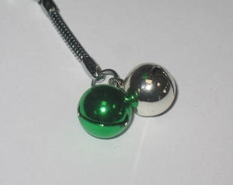 Silver and Green Bell Keychain