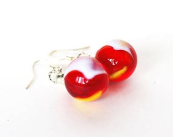 Clearance Sale Red white and yellow glass marble dangle earrings