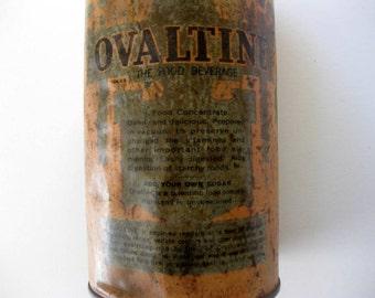 Vintage Ovaltine Tin with Embossed Ovaltine Lid