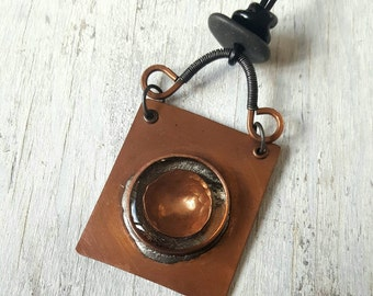 Artisan Made Copper, Glass, River Rock and Resin Pendant and Necklace