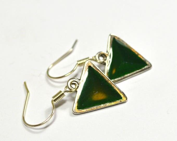 Steven Universe Peridot Gem Green and Silver Earrings, Nickel free wires