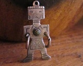 RESERVED Vintage Sterling Silver and Green Turquoise Kachina Charm - Pendant - Native American Kachina 1.55gr