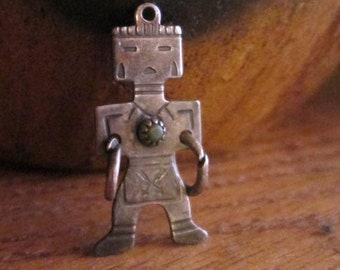 Vintage Sterling Silver and Green Turquoise Kachina Charm - Pendant - Native American Kachina 1.55gr