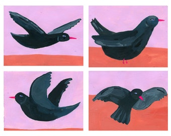 Black Birds note card set