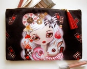 Alice in Wonderland Cosmetic Pouch - Makeup Bag, Large Zippered Pouch