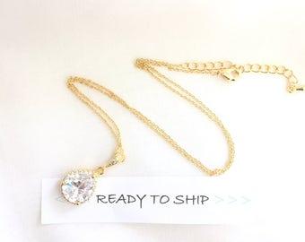 RTS Gold Bridal Necklace LUX CZ Rhinestone Pendant Necklace, Wedding Necklace, Teardrop Bridal Necklace, Bridal Pendant, Rhinestone Jewelry