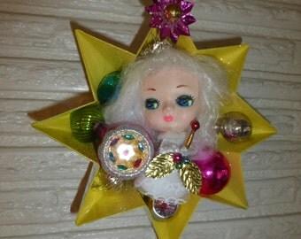 Vintage Christmas Bradley Doll Head Angel in Large Tart Tin No 2