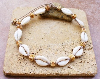 Nigerian Matte Cowrie Shell and Spiral Carved Bone Bead Choker - Summer White Party - Beautiful - Unisex